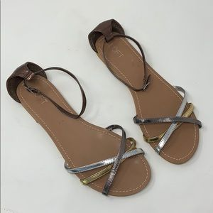 Loft Brown Strappy Flat Sandals Size 10